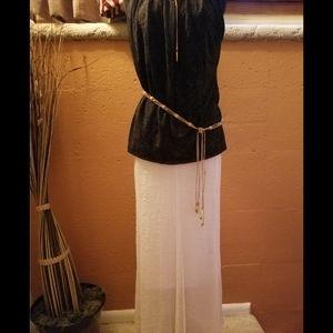 White Lined Maxi Skirt